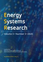 Energy Systems Research jourbal, Issue 3, 2020 is available online
